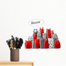 Cartoon Cute Cat Meow Protect Animal Pet Lover Removable Wall Sticker Art Decals Mural DIY Wallpaper for Room Decal
