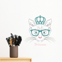 Crown Sunglass White Cat Princess Protect Animal Pet Lover Removable Wall Sticker Art Decals Mural DIY Wallpaper for Room Decal