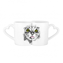 Tougue Bow White Cat Protect Animal Pet Lover Lovers' Mug Lover Mugs Set White Pottery Ceramic Cup Gift Milk Coffee Cup with Handles