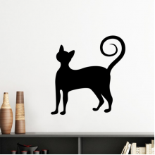 Black Cat Meow Elegant Cute Animal Art Silhouette Silhouette  Removable Wall Sticker Art Decals Mural DIY Wallpaper for Room Decal