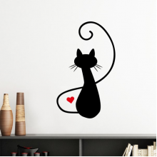 Meow Heart-shape Cat Figure Sihouette Protect Animal Pet Lover Silhouette  Removable Wall Sticker Art Decals Mural DIY Wallpaper for Room Decal