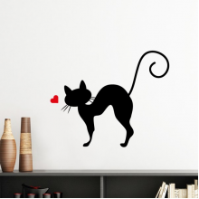 Protect Animal Heart-shape Cat Figure Sihouette Pet Lover Silhouette  Removable Wall Sticker Art Decals Mural DIY Wallpaper for Room Decal