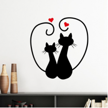 Two Cat Figure Heart-shape Sihouette Protect Animal Pet Lover Silhouette  Removable Wall Sticker Art Decals Mural DIY Wallpaper for Room Decal