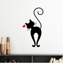 Heart-shape Cat Figure Sihouette Protect Animal Pet Lover Silhouette  Removable Wall Sticker Art Decals Mural DIY Wallpaper for Room Decal