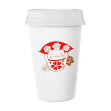 Cherry Blossoms Fat Lucky Fortune Cat Fan Japan Culture Classic Mug White Pottery Ceramic Cup Milk Coffee Cup Gift 350 ml