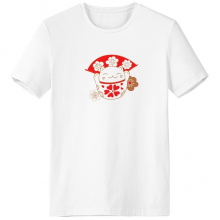 Cherry Blossoms Fat Lucky Fortune Cat Fan Japan Culture Crew-Neck White T-shirt Spring and Summer Tagless Comfort Cotton Sports T-shirts Gift
