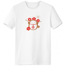 Cherry Blossoms Fan Fat Lucky Fortune Cat Japan Culture Crew-Neck White T-shirt Spring and Summer Tagless Comfort Cotton Sports T-shirts Gift