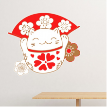 Cherry Blossoms Fat Lucky Fortune Cat Fan Japan Culture Removable Wall Sticker Art Decals Mural DIY Wallpaper for Room Decal
