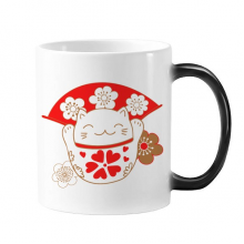 Cherry Blossoms Fat Lucky Fortune Cat Fan Japan Culture Morphing Heat Sensitive Changing Color Mug Cup Gift Milk Coffee With Handles 350 ml