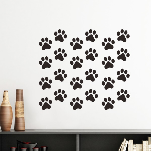 Cat Animal Cute Paw Print Silhouette Footprint Removable Wall Sticker Art Decals Mural DIY Wallpaper For Room Decal