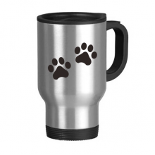Cat Animal Cute Paw Print Silhouette Footprint Stainless Steel Travel Mug Travel Mugs Gifts With Handles 13oz