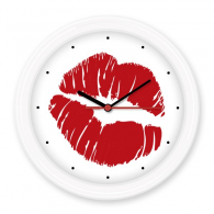 Hot Sexy Lip Kiss Happy Valentine's Day Silent Non-ticking Round Wall Decorative Clock Battery-operated Clocks Gift Home Decal