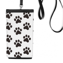 Cat Animal Cute Paw Print Outline Footprint Faux Leather Smartphone Hanging Purse Black Phone Wallet Gift