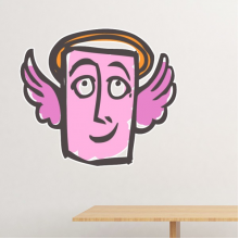 Angel Abstract Face Sketch Emoticons Online Chat Removable Wall Sticker Art Decals Mural DIY Wallpaper for Room Decal