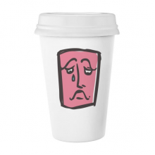 Sad Abstract Face Sketch Emoticons Online Chat Classic Mug White Pottery Ceramic Cup Milk Coffee Cup Gift 350 ml