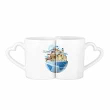 Landmark Global Travel Journey Greece Aegean Sea Plane Lovers' Mug Lover Mugs Set White Pottery Ceramic Cup Gift Milk Coffee Cup with Handles