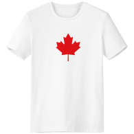 Red Maple Leaf Canada Country Culture Symbol Crew-Neck White T-shirt Spring and Summer Tagless Comfort Cotton Sports T-shirts Gift