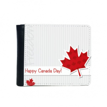 Happy Canada Day Vertical Grain Maple Leaf Flip Bifold Faux Leather Wallet  Multi-Function Card Purse Gift