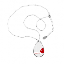 Happy Canada Day Vertical Grain Maple Leaf Teardrop Shape Pendant Necklace Jewelry With Chain Decoration Gift