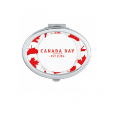 4th Of July Maple Leaf Happy Canada Day Oval Compact Makeup Pocket Mirror Portable Cute Small Hand Mirrors Gift