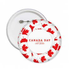 4th Of July Maple Leaf Happy Canada Day Round Pins Badge Button Clothing Decoration Gift 5pcs