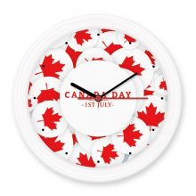 4th Of July Maple Leaf Happy Canada Day Silent Non-ticking Round Wall Decorative Clock Battery-operated Clocks Gift Home Decal