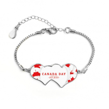 4th Of July Maple Leaf Happy Canada Day Double Hearts Shape Round-Cut Cubic Chain Bracelet Love Gifts