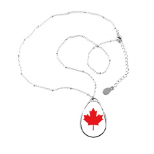 Red Maple Leaf Canada Country Culture Symbol Teardrop Shape Pendant Necklace Jewelry With Chain Decoration Gift