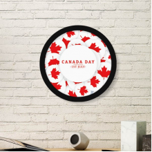 4th Of July Maple Leaf Happy Canada Day Round Simple Picture Frame Art Prints of Paintings Home Wall Decal