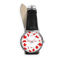 4th Of July Maple Leaf Happy Canada Day Quartz Analog Wrist Business Casual Watch with Stainless Steel Case Gift