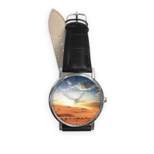 Blue Sky Journey Silk Road Camel Desert Quartz Analog Wrist Business Casual Watch with Stainless Steel Case Gift