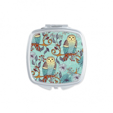 Blue Flower Owl Protect Animal Pet Lover Square Compact Makeup Pocket Mirror Portable Cute Small Hand Mirrors Gift