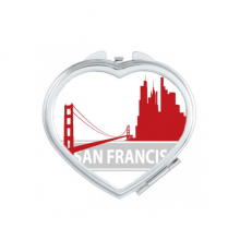 San Francisco America Country City Outline Heart Compact Makeup Pocket Mirror Portable Cute Small Hand Mirrors Gift