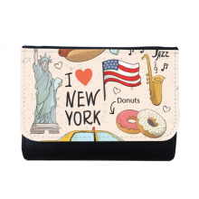 I Love New York Hot Dog Donuts America Texi Multi-Function Faux Leather Wallet Card Purse Gift