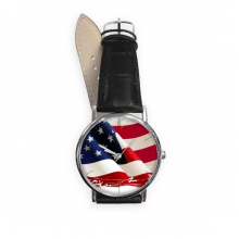 Air Brushing Stars And Stripes America Flag Country Quartz Analog Wrist Business Casual Watch with Stainless Steel Case Gift