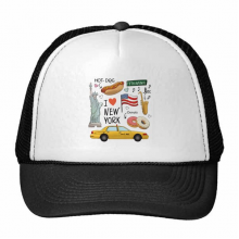 I Love New York Hot Dog Donuts America Texi Trucker Hat Baseball Cap Nylon Mesh Hat Cool Children Hat Adjustable Cap Gift