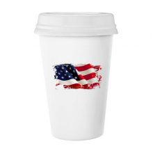 Air Brushing Stars And Stripes America Flag Country Classic Mug White Pottery Ceramic Cup Milk Coffee Cup Gift 350 ml