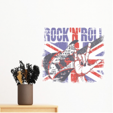 Rock Guitar England Britain Country Flag UK Removable Wall Sticker Art Decals Mural DIY Wallpaper for Room Decal