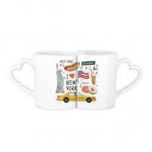 I Love New York Hot Dog Donuts America Texi Lovers' Mug Lover Mugs Set White Pottery Ceramic Cup Gift Milk Coffee Cup with Handles