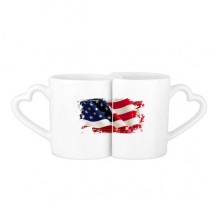 Air Brushing Stars And Stripes America Flag Country Lovers' Mug Lover Mugs Set White Pottery Ceramic Cup Gift Milk Coffee Cup with Handles