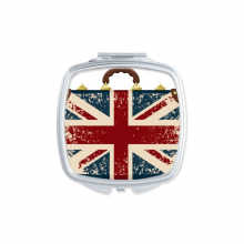 Union Jack Retro Suitcase Britain UK Flag Culture Square Compact Makeup Pocket Mirror Portable Cute Small Hand Mirrors Gift