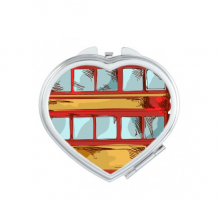 Cartoon Doubledecker Britain Country Culture Elements Heart Compact Makeup Pocket Mirror Portable Cute Small Hand Mirrors Gift