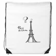 Line Drawing Eiffel Tower Silhouette France Paris Drawstring Backpack Shopping Sports Bags Gift
