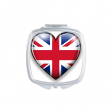 Union Jack Heart-shaped Britain UK Flag Square Compact Makeup Pocket Mirror Portable Cute Small Hand Mirrors Gift