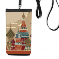 Russia St Vasily Cathedral Building Red Square Faux Leather Smartphone Hanging Purse Black Phone Wallet Gift