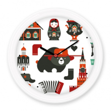 Bear Vodka Accordion Doll Russia Country Culture Silent Non-ticking Round Wall Decorative Clock Battery-operated Clocks Gift Home Decal