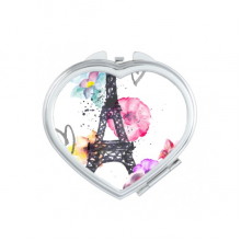 Eiffel Tower Heart-shaped France Paris Watercolor Heart Compact Makeup Pocket Mirror Portable Cute Small Hand Mirrors Gift