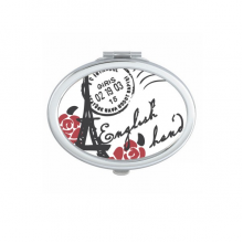 Eiffel Tower Roses France Paris Stamp Style Oval Compact Makeup Pocket Mirror Portable Cute Small Hand Mirrors Gift