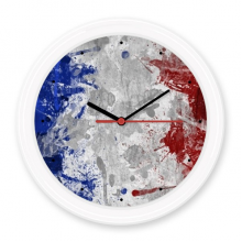 Air Brushing France Flag Country City Culture Silent Non-ticking Round Wall Decorative Clock Battery-operated Clocks Gift Home Decal