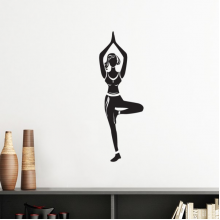 Yoga Girl One Leg Stand Keep Healthy Sports Silhouette Silhouette  Removable Wall Sticker Art Decals Mural DIY Wallpaper for Room Decal